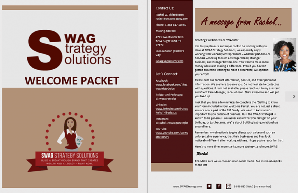 SWAG WELCOME PACKET SAMPLE